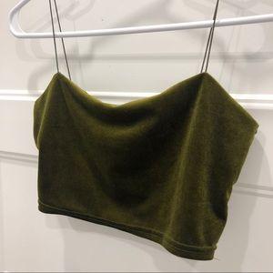 Green Velvet Crop Top - NWOT!